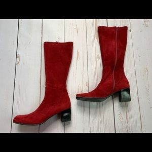 Franco Sarto - Red Suede Knee High Boots - 7